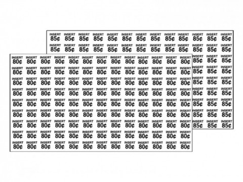 Rowe Price Labels Sheet 80-85 Cents